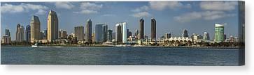 San Diego Skyline Daytime Panoramic Canvas Print by Adam Romanowicz