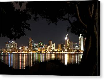 Canvas Print featuring the photograph San Diego Skyline Framed 1 by Lee Kirchhevel