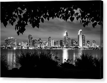 San Diego Skyline Framed 2 Black And White Canvas Print
