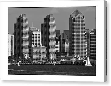 Canvas Print featuring the digital art San Diego Skyline by Kirt Tisdale