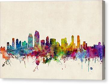 San Diego Skyline Canvas Print by Michael Tompsett