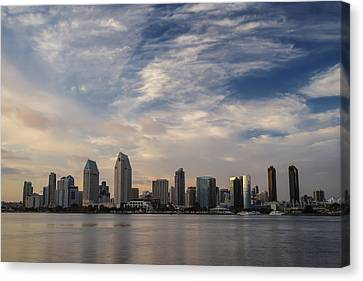 Canvas Print featuring the photograph San Diego Skyline Sunset 1 by Lee Kirchhevel