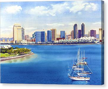 City Scenes Canvas Print - San Diego Skyline With Meridien by Mary Helmreich