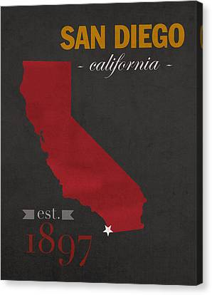 San Diego State University California Aztecs College Town State Map Poster Series No 093 Canvas Print by Design Turnpike