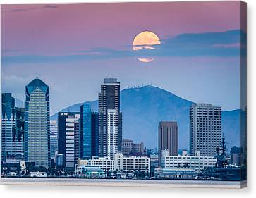 San Diego Super Moonrise - San Diego Skyline Photograph Canvas Print