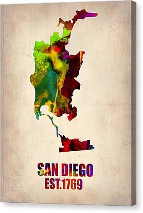 California Map Canvas Print - San Diego Watercolor Map by Naxart Studio