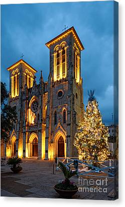 San Fernando Cathedral And Christmas Tree Main Plaza - San Antonio Texas Canvas Print