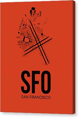 San Francisco Airport Poster 2 Canvas Print by Naxart Studio