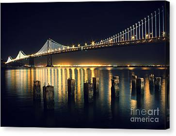 San Francisco Bay Bridge Illuminated Canvas Print by Jennifer Ramirez