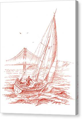 San Francisco Bay Sailing To Golden Gate Bridge Canvas Print