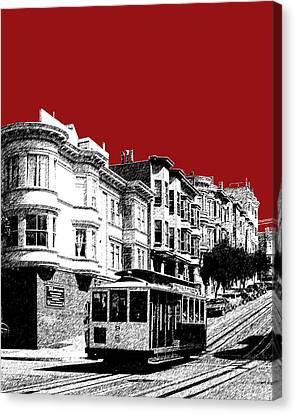 San Francisco Cable Car 2 - Dk Red Canvas Print by DB Artist