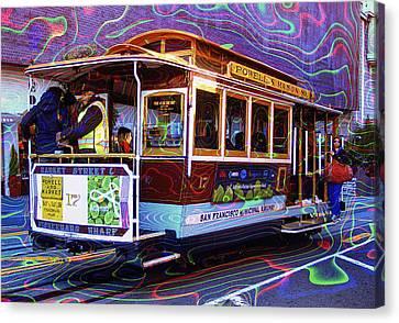 Bus In San Francisco Canvas Print - San Francisco Cable Car No. 17 by Daniel Hagerman