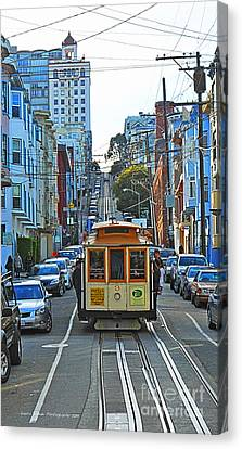 San Francisco Cable Car To Powell And Market Streets Canvas Print by Artist and Photographer Laura Wrede