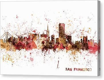 San Francisco California City Skyline Canvas Print