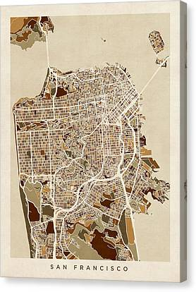 California Map Canvas Print - San Francisco City Street Map by Michael Tompsett