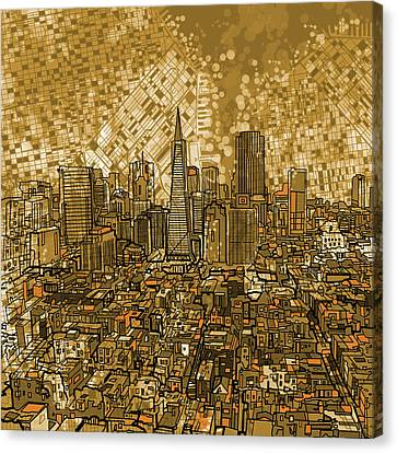 Abstract Digital Canvas Print - San Francisco Cityscape by Bekim Art