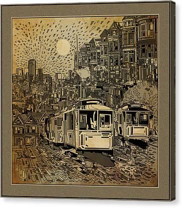 San Francisco Cityscape Vintage Canvas Print
