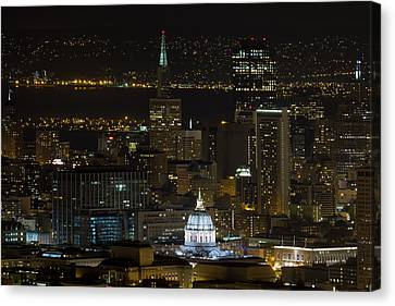 San Francisco Cityscape With City Hall At Night Canvas Print by David Gn