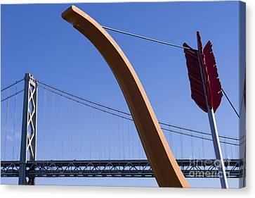 San Francisco Cupids Span Sculpture At Rincon Park On The Embarcadero Dsc1808 Canvas Print by Wingsdomain Art and Photography