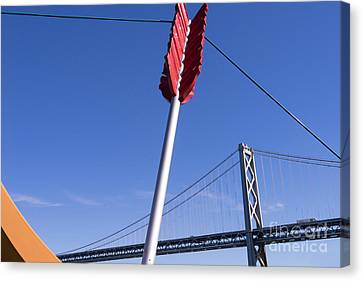 San Francisco Cupids Span Sculpture At Rincon Park On The Embarcadero Dsc1812 Canvas Print by Wingsdomain Art and Photography