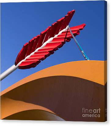 San Francisco Cupids Span Sculpture At Rincon Park On The Embarcadero Dsc1819 Square Canvas Print by Wingsdomain Art and Photography