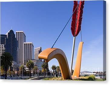 San Francisco Cupids Span Sculpture At Rincon Park On The Embarcadero Dsc1929 Canvas Print by Wingsdomain Art and Photography