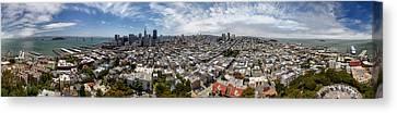 San Francisco Daytime Panoramic Canvas Print by Adam Romanowicz