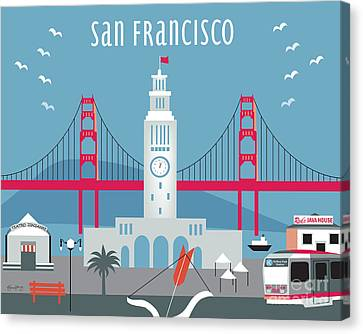 San Francisco Ferry Building Canvas Print by Karen Young