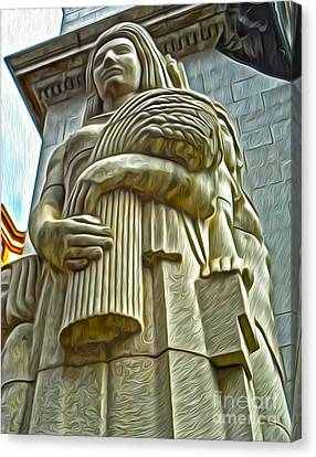 San Francisco - Financial District Statue - 04 Canvas Print by Gregory Dyer