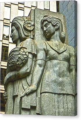 San Francisco - Financial District Statue - 05 Canvas Print by Gregory Dyer
