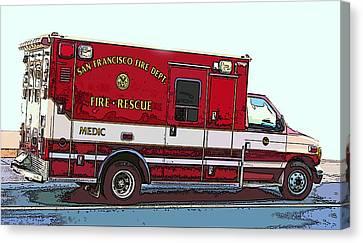 Sheats Canvas Print - San Francisco Fire Dept. Medic Vehicle by Samuel Sheats
