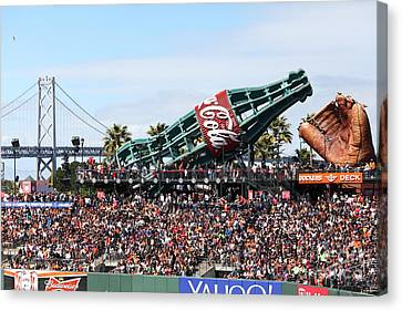 San Francisco Giants Baseball Ballpark Fan Lot Giant Glove And Bottle 5d28246 Canvas Print by Wingsdomain Art and Photography