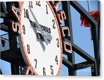 San Francisco Giants Baseball Scoreboard And Clock 5d28233 Canvas Print by Wingsdomain Art and Photography