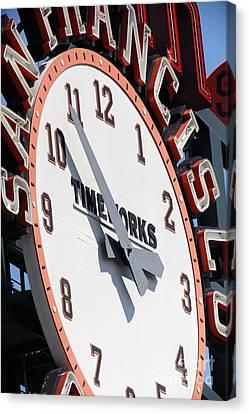 San Francisco Giants Baseball Scoreboard And Clock 5d28234 Canvas Print by Wingsdomain Art and Photography