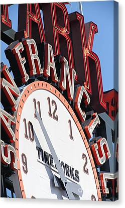 San Francisco Giants Baseball Scoreboard And Clock 5d28235 Canvas Print by Wingsdomain Art and Photography