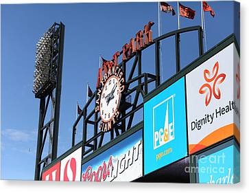San Francisco Giants Baseball Scoreboard And Clock 5d28240 Canvas Print by Wingsdomain Art and Photography