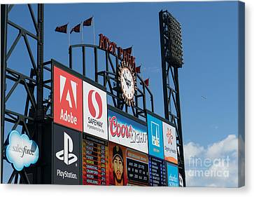 San Francisco Giants Baseball Scoreboard And Clock Dsc1163 Canvas Print by Wingsdomain Art and Photography