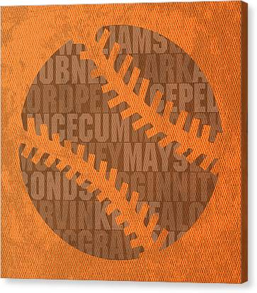 San Francisco Giants Baseball Typography Famous Player Names On Canvas Canvas Print
