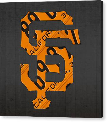 San Francisco Giants Baseball Vintage Logo License Plate Art Canvas Print by Design Turnpike