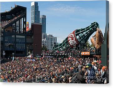 Att Ballpark Canvas Print - San Francisco Giants Fan Lot Giant Glove And Bottle Dsc1176 by Wingsdomain Art and Photography