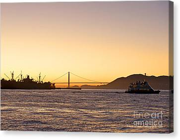 San Francisco Harbor Golden Gate Bridge At Sunset Canvas Print by Artist and Photographer Laura Wrede