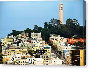 San Francisco California Hills And Coit Tower Canvas Print by Gregory Ballos