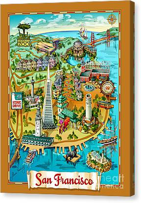 San Francisco Illustrated Map Canvas Print by Maria Rabinky
