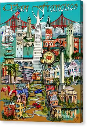 San Francisco Illustration Canvas Print by Maria Rabinky
