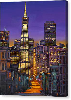 Night Canvas Print - San Francisco by Johnathan Harris