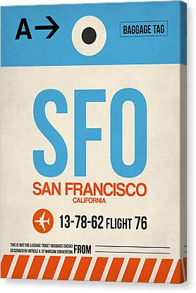 San Francisco Canvas Print - San Francisco Luggage Tag Poster 1 by Naxart Studio
