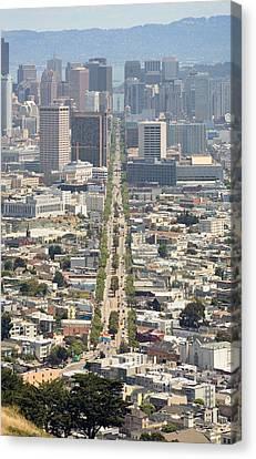 San Francisco - Market Street - Castro To Embarcadero Canvas Print by Daniel Furon