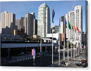 San Francisco Moscone Centerand And Skyline - 5d20504 Canvas Print by Wingsdomain Art and Photography
