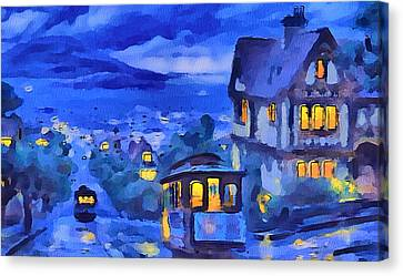 San Francisco Night Trams Canvas Print by Yury Malkov