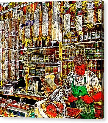 San Francisco North Beach Deli 20130505v2 Square Canvas Print by Wingsdomain Art and Photography